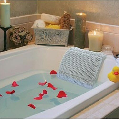 Non Slip Bath Tub Pillow With Suction Cups Relaxing Hot
