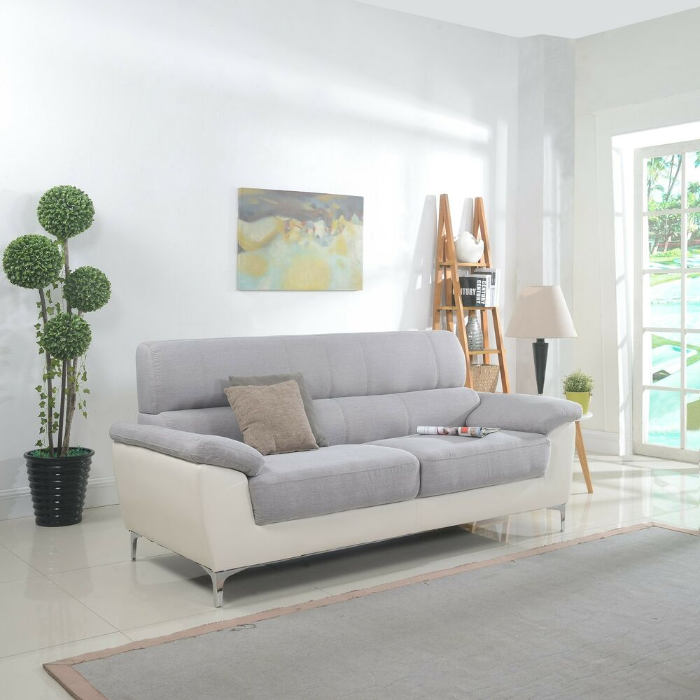 Modern Two Tone Fabric And Bonded Leather Living Room Sofa Ebay
