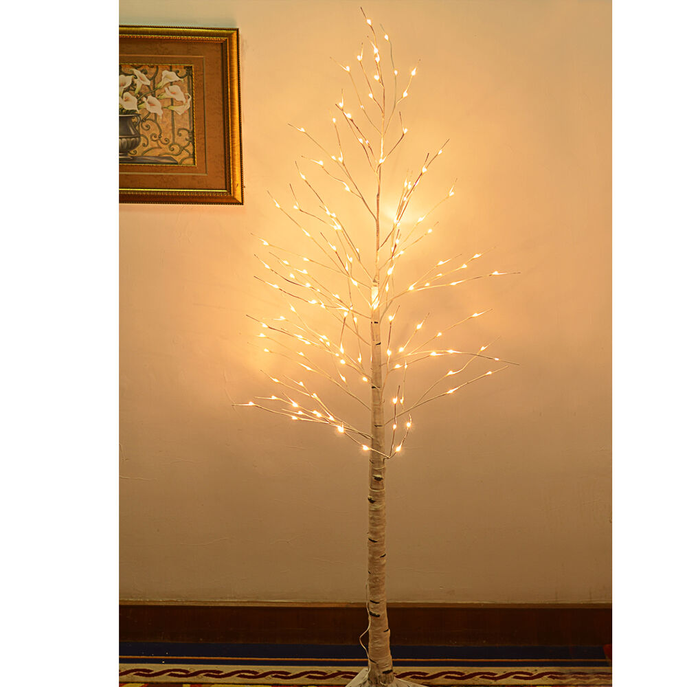 8ft 132l Led Birch Tree Christmas Light Tree Tall W