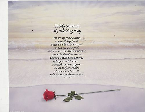 To My Sister On My Wedding Day Poem Personalized Name Ebay