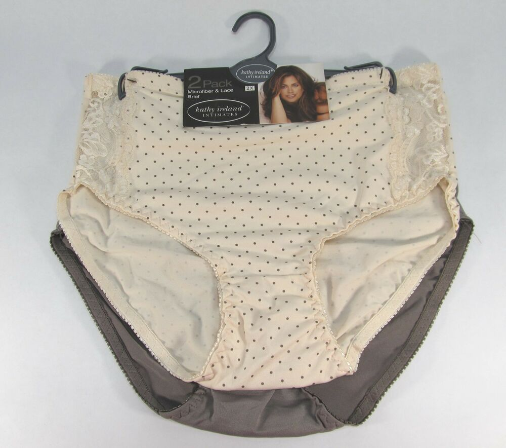 Kathy Ireland 2 Pack Briefs Panties Cream Taupe Charcoal