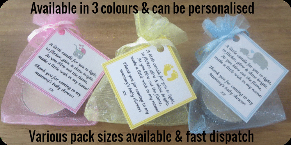baby shower candle favours with vanilla scented candles