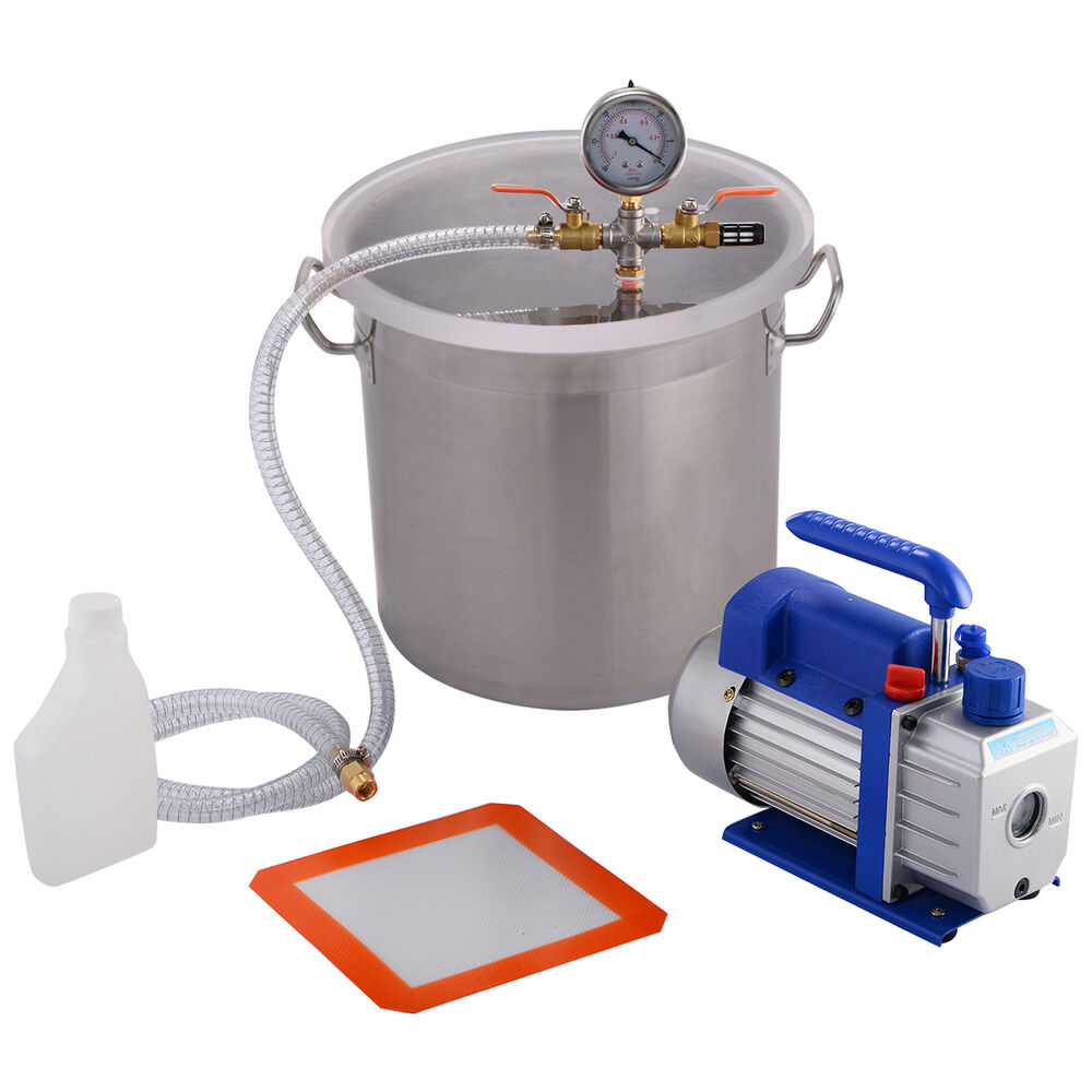 New 5 Gallon Vacuum Chamber and 3 CFM Single Stage Pump ...