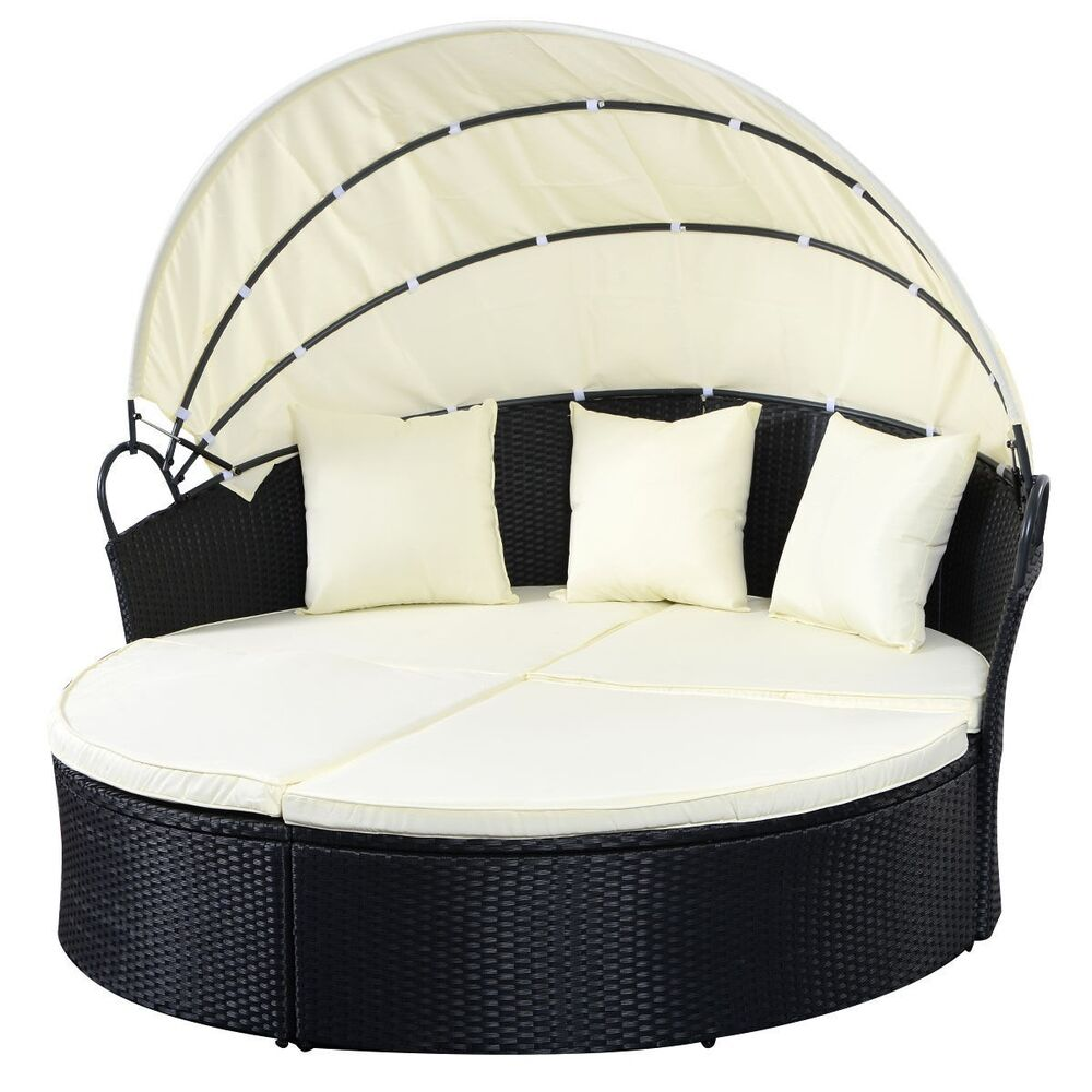 black outdoor patio sofa furniture round retractable canopy daybed wicker rattan ebay. Black Bedroom Furniture Sets. Home Design Ideas