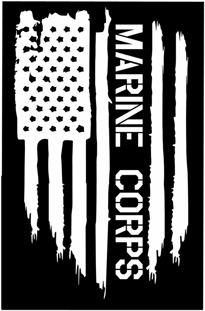 american flag usmc marine corps usa military vinyl die cut With marine decals and lettering
