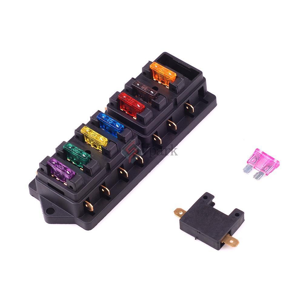 universal 8 way circuit standard blade fuse box holder. Black Bedroom Furniture Sets. Home Design Ideas