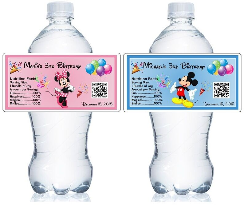 20 personalized mickey minnie birthday water bottle labels for Custom waterproof labels for water bottles