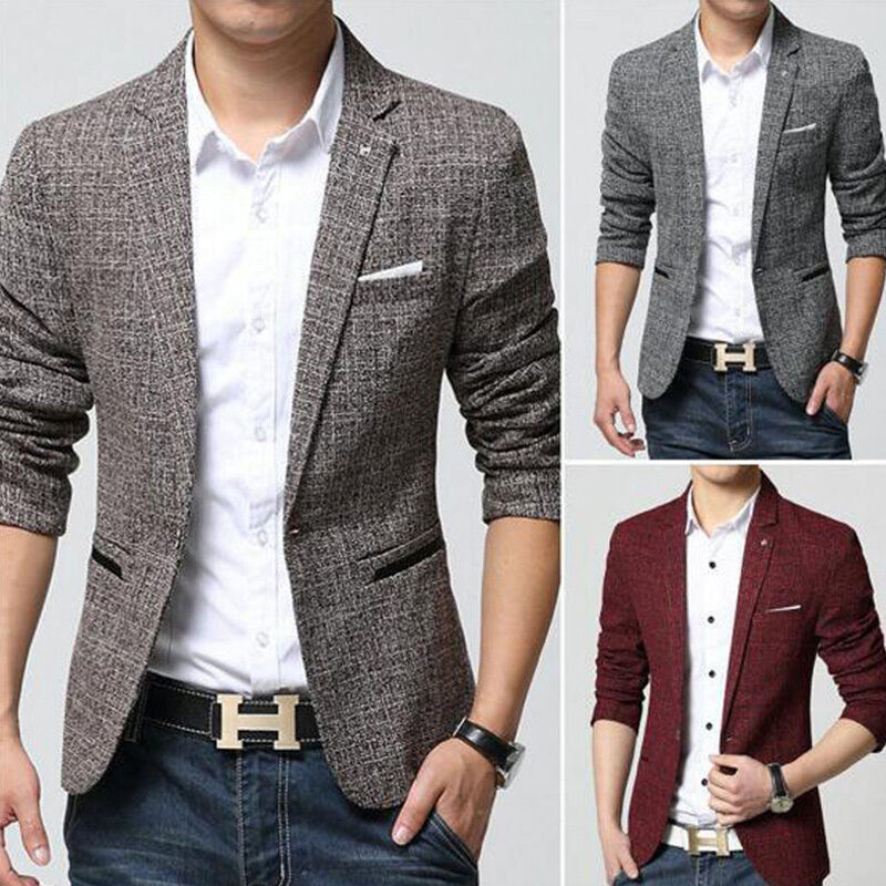 Mens Blazer Jacket Fashion Smart Slim Fit One Button
