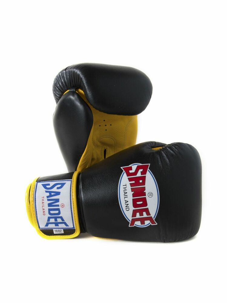 Details about Sandee Authentic Muay Thai Black   Yellow Leather Boxing  Gloves Sparring f719bd868c8ff