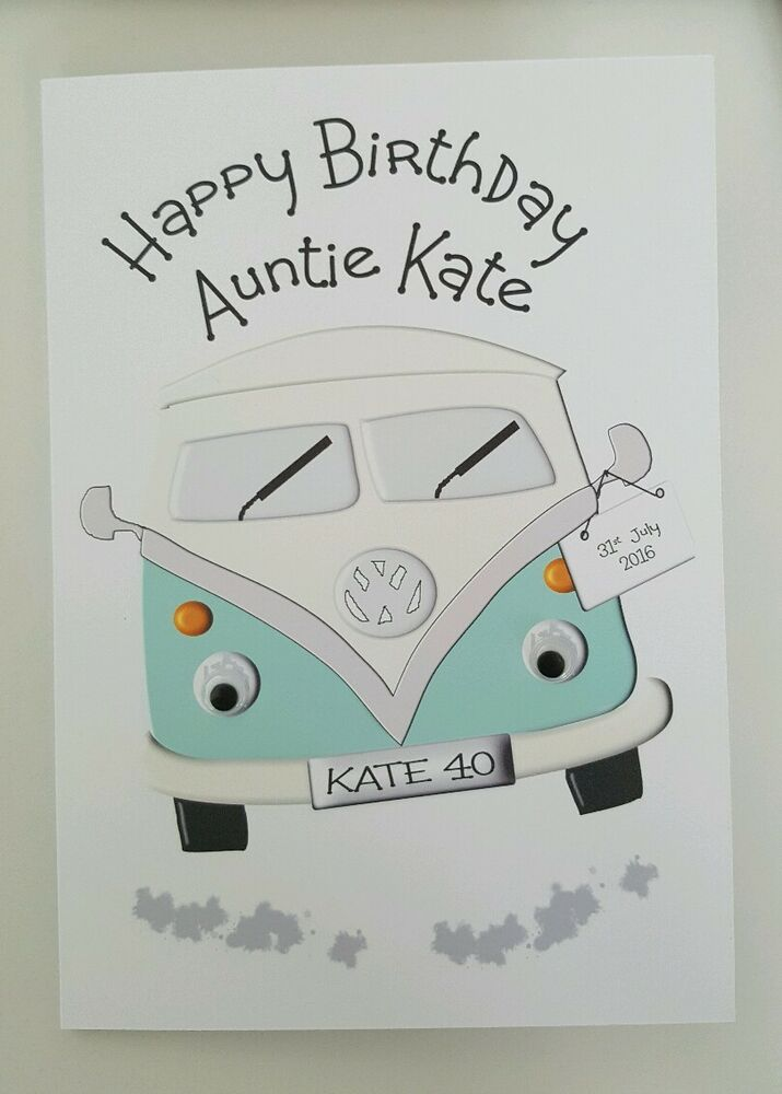 2c84eedb13 Personalised Birthday Card VW Campervan 40th Auntie Daddy Any Person Age  Colour