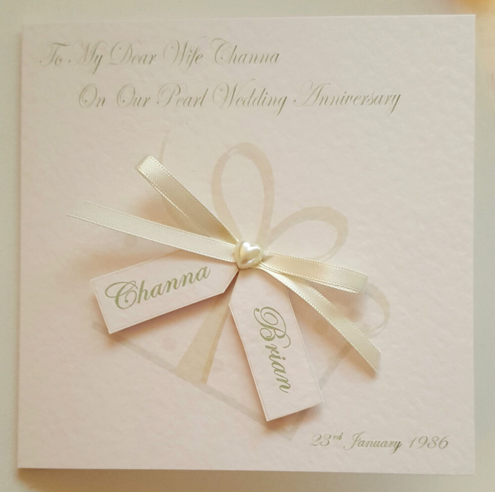 30th Wedding Anniversary Gifts For Husband: Personalised 30th Pearl Anniversary Card 1st 10th 25th