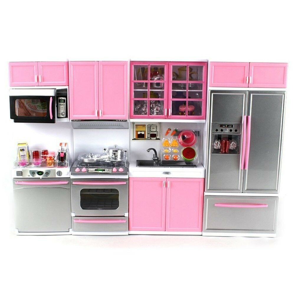 Deluxe modern kitchen battery operated doll playset lights for Kitchen set cicilan 0