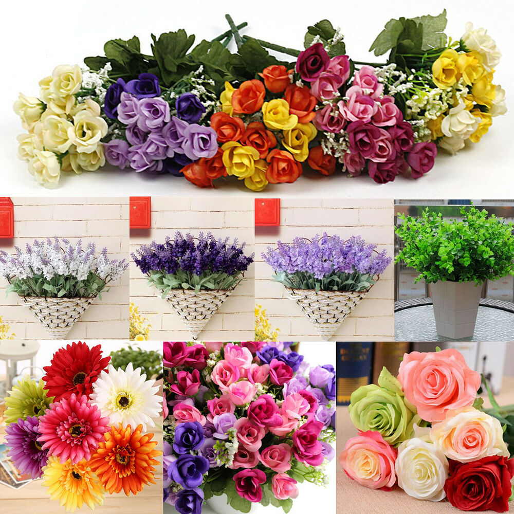 wholesale mix artificial silk flower bouquet home wedding floral garden decor ebay. Black Bedroom Furniture Sets. Home Design Ideas