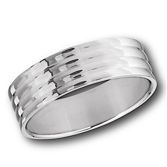Stainless Steel Mens Wedding Band Ring 8mm: MENS STAINLESS STEEL POLISHED 8mm WIDE BAND RING THUMB