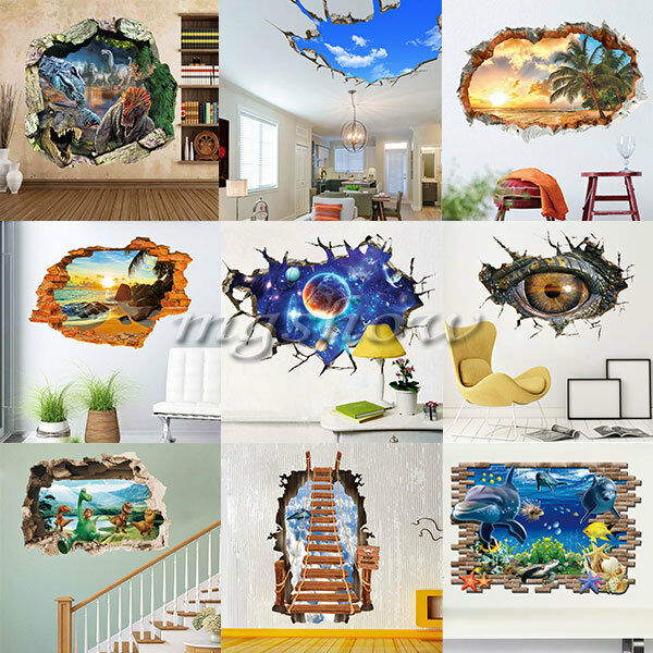 3d broken diy removable art vinyl wall stickers decal for Broken glass mural