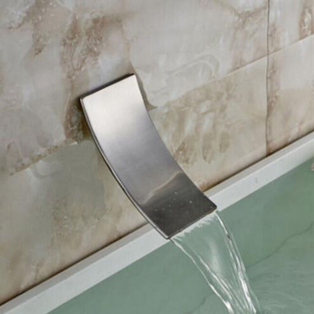Waterfall Wall Mount Bathroom Faucet Spout Brushed Nickel