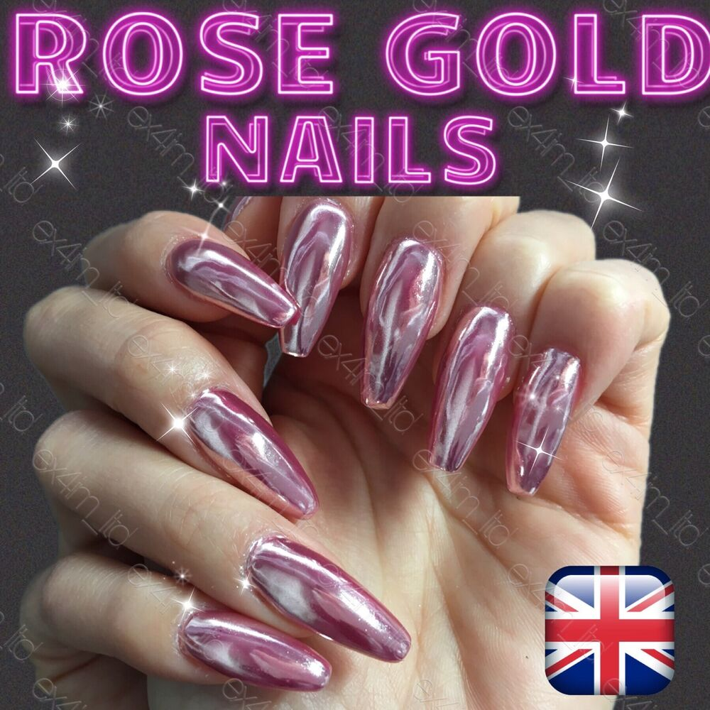 ROSE GOLD MIRROR POWDER ALUMINIUM EFFECT CHROME HOT NAILS