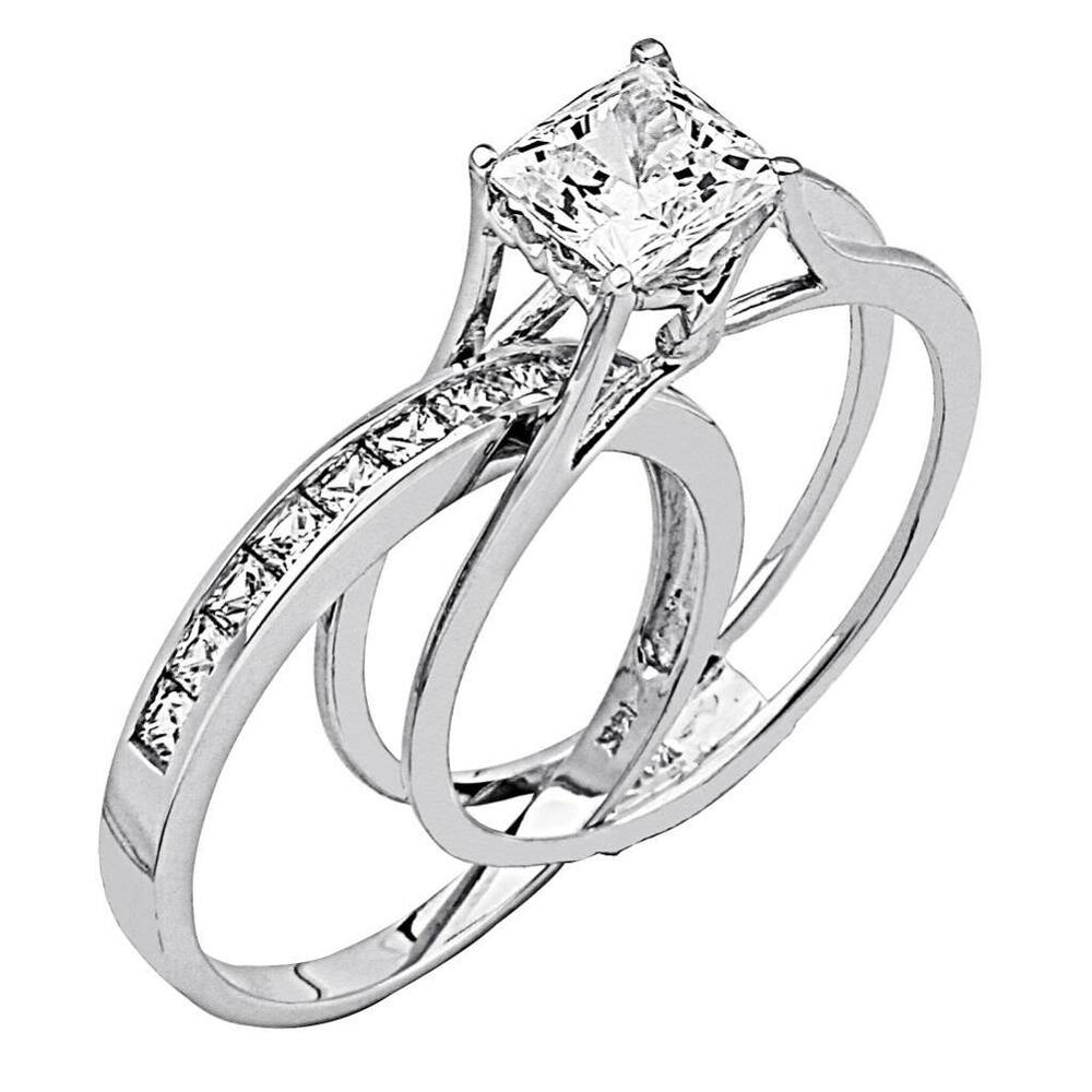 2 ct princess cut 2 piece engagement wedding ring band set solid 14k white gold - Ebay Wedding Ring Sets