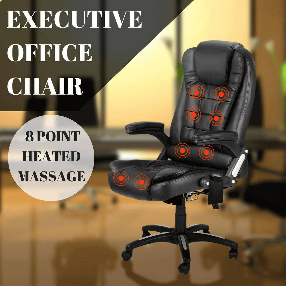 office chair 8 point massage heated computer pu leather recliner black