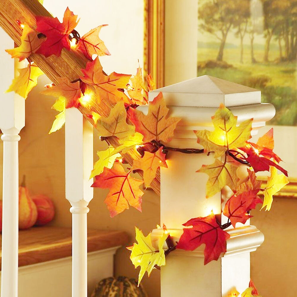 Correct Way To String Christmas Lights On Tree : Fall Thanksgiving Maple Leaf Garland Decoration Decor LED Lighted Autumn Leaves eBay