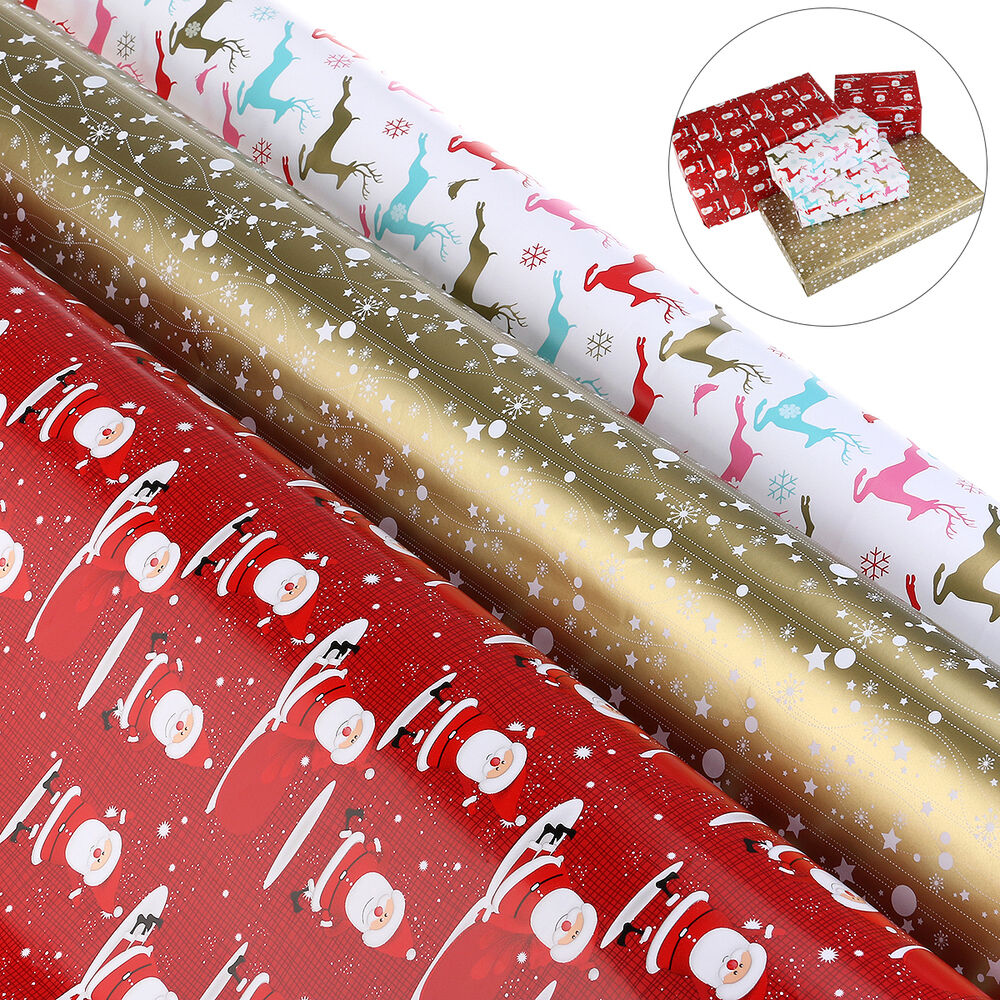 Nicexmas 3 rolls christmas gift wrap wrapping paper ebay for How to wrap presents with wrapping paper