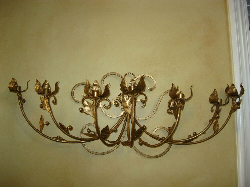 Vintage French Gold Wrought Iron WALL SCONCE Candelabra Candle Holder ChicShabby eBay