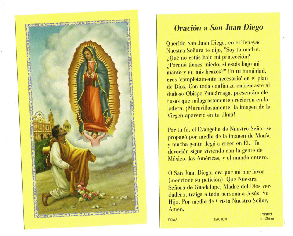 Offer Up San Diego >> Oracion a San Juan Diego SPANISH prayer card | eBay
