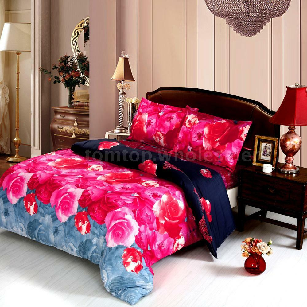 Colorful 3d Printed Chinese Rose Bedding Duvet Cover Sheet