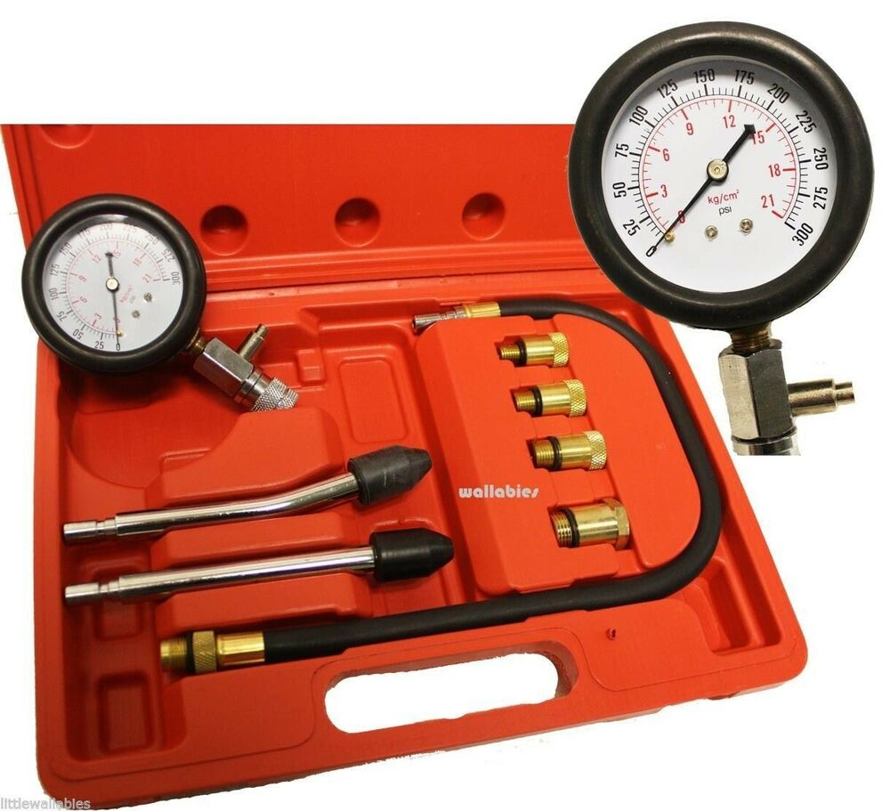 Auto Engine Gauges : Petrol gas engine cylinder compression tester gauge kit
