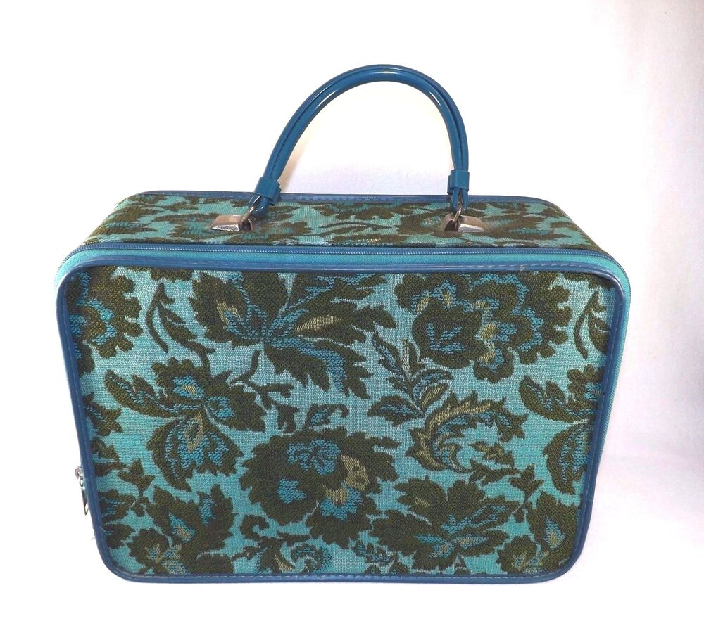AWESOME VINTAGE 60u0026#39;S GREEN BLUE FLORAL TAPESTRY SMALL SUITCASE CARRY ON BAG   EBay