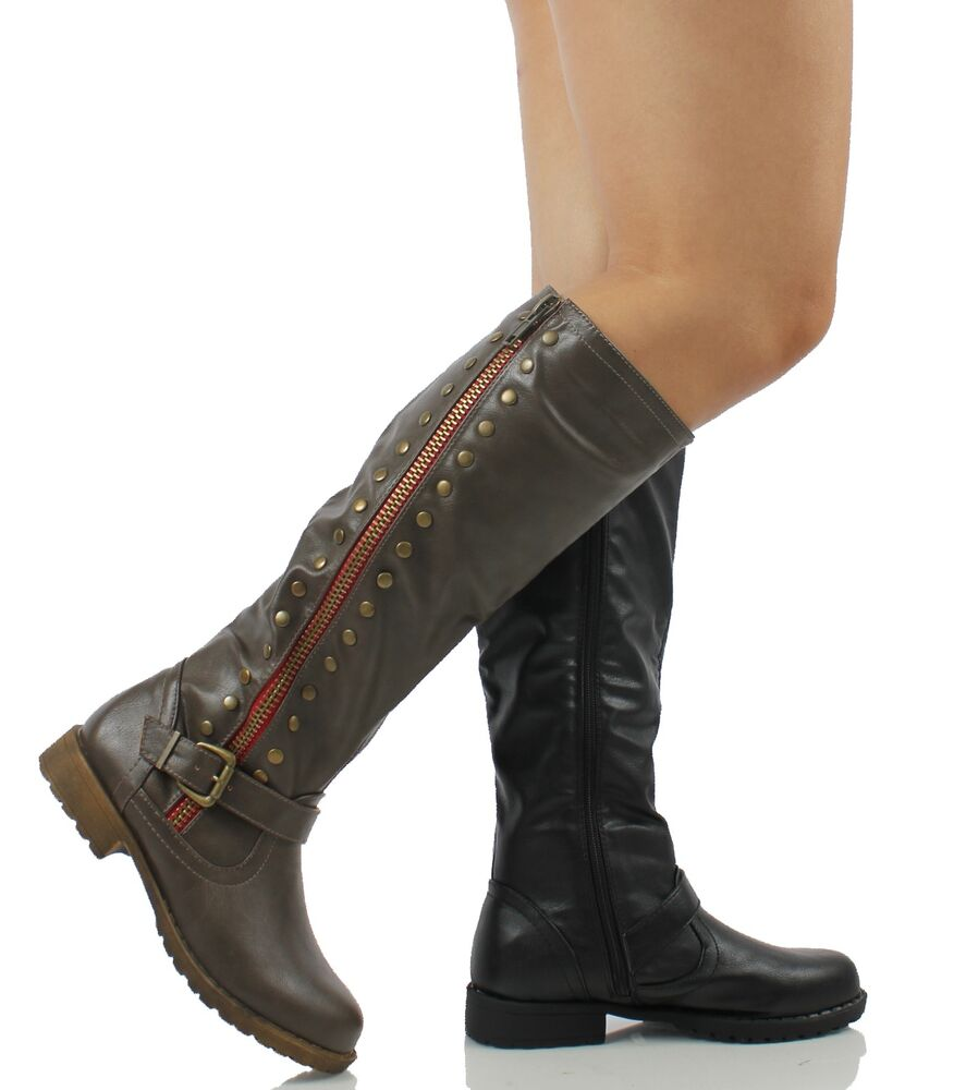 Bamboo Women S Faux Leather Red Side Zipper Knee High Low