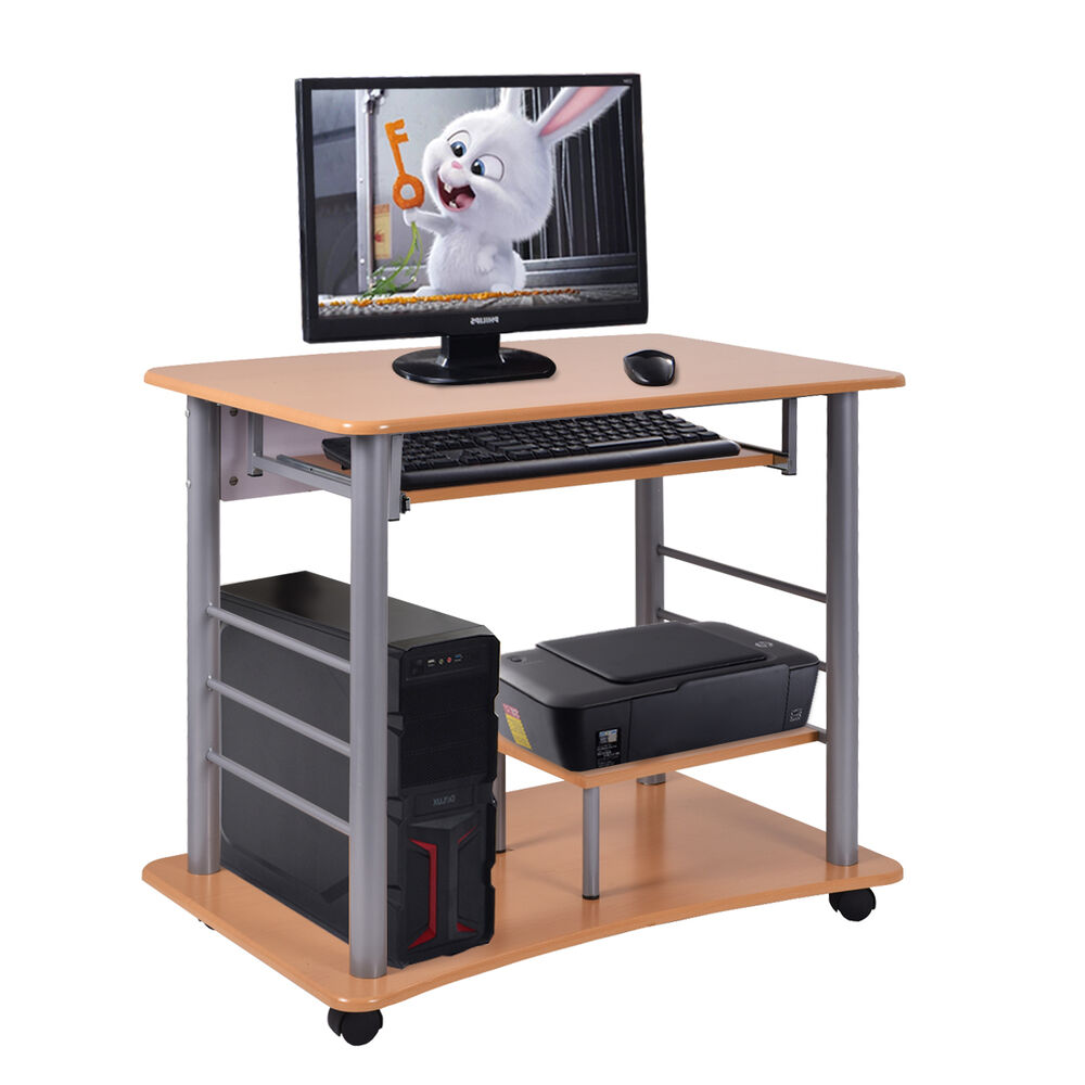 Rolling computer desk laptop pc table workstation study for Home office workstation desk