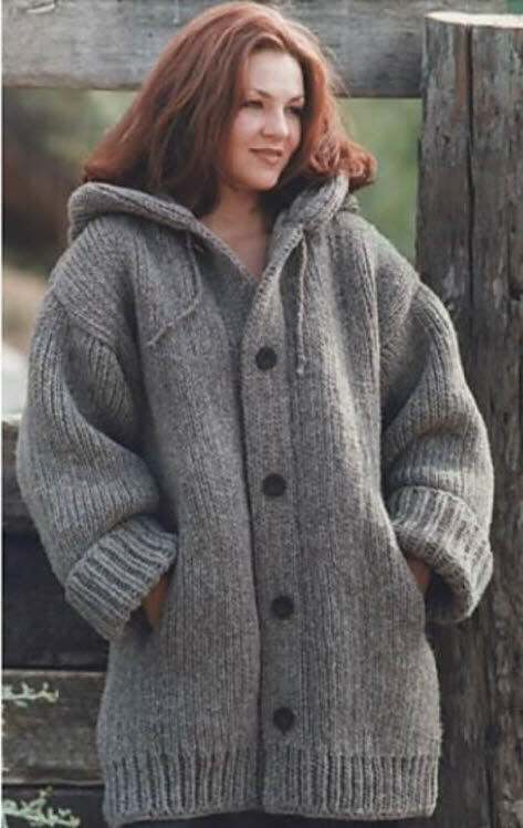 Chunky Knit Jacket Patterns Free : Knitting Pattern for Ladies Chunky Knit Jacket/Cardigan 46 - 66 in - EASY! (1...