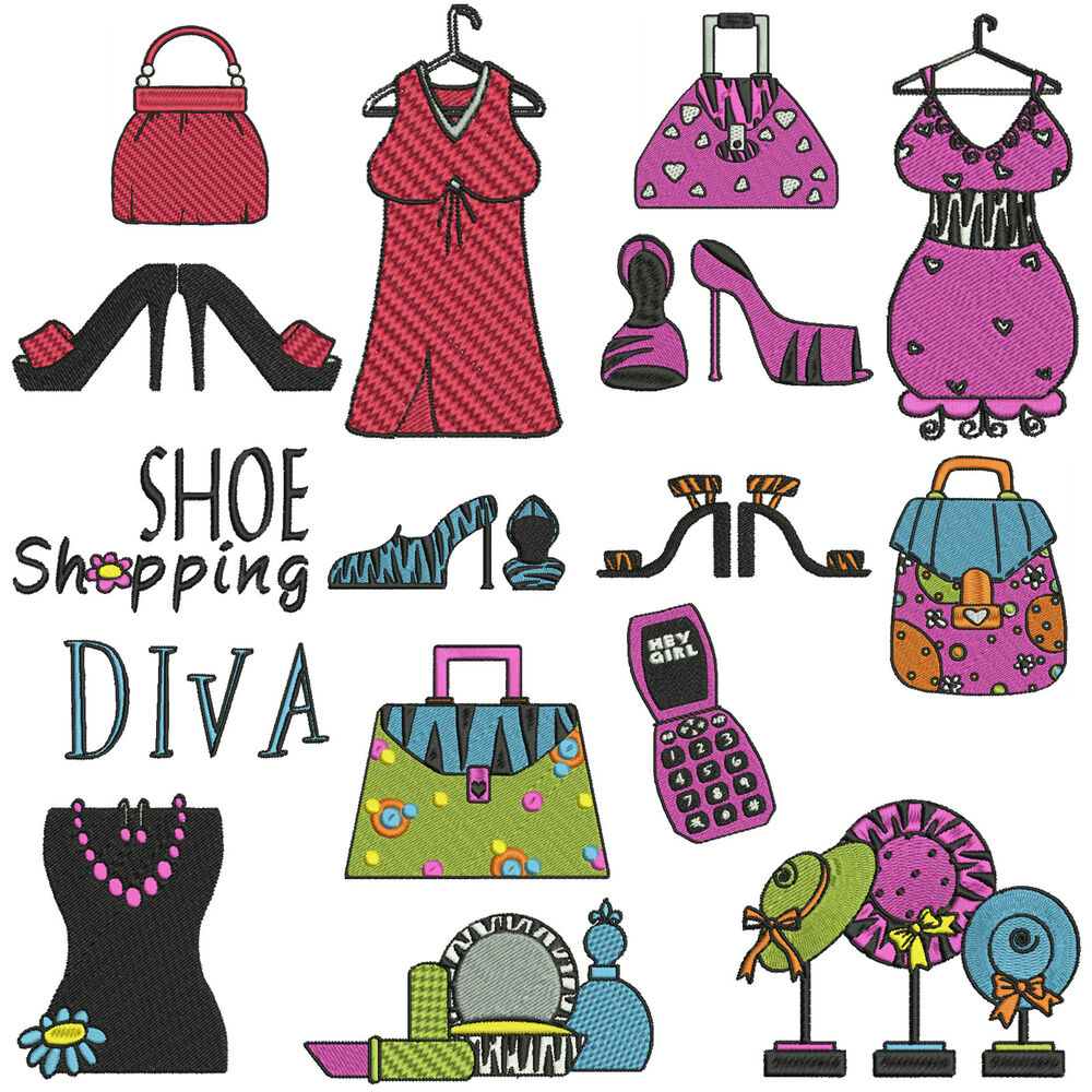 Fashion diva machine embroidery patterns 16 designs Fashion embroidery designs