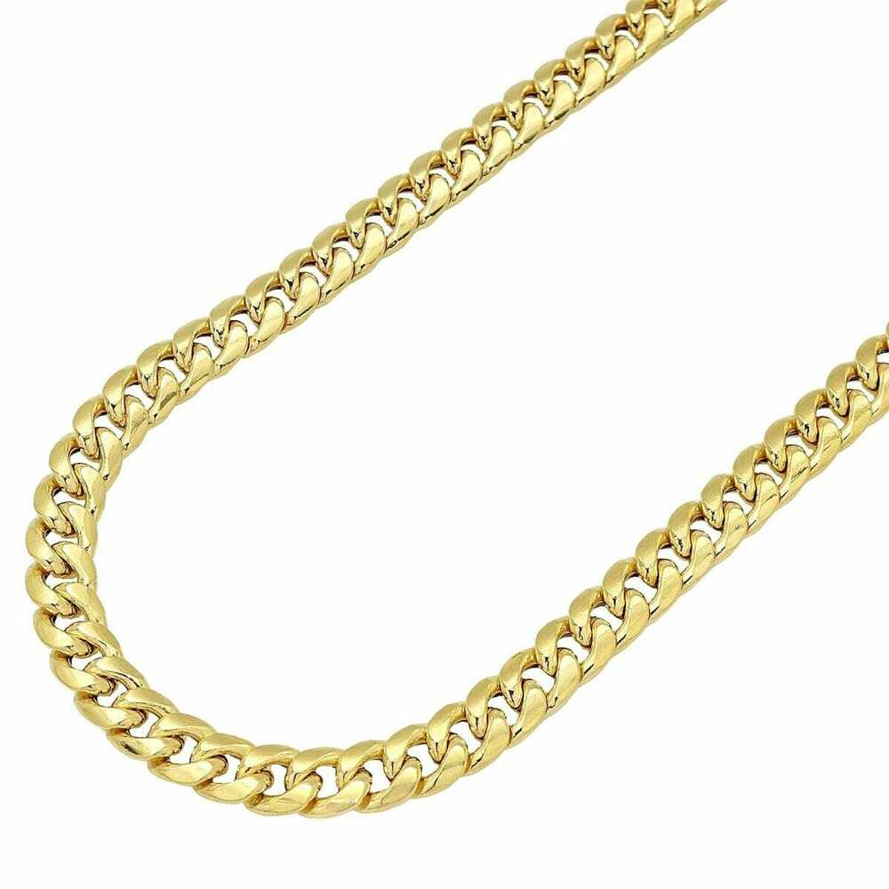 14k real yellow gold 8mm miami cuban link chain necklace. Black Bedroom Furniture Sets. Home Design Ideas