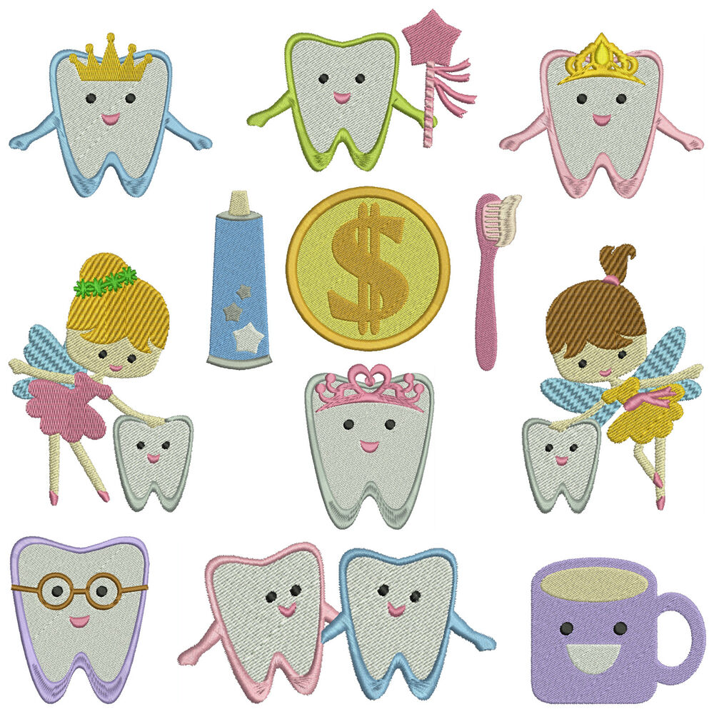 TOOTH FAIRY * Machine Embroidery Patterns * 12 Designs X 2 Sizes | EBay