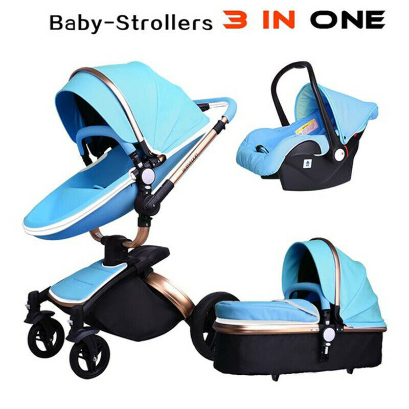 baby stroller 2017 hot mom 3 in 1 travel system and bassinet combo pu pushchair ebay. Black Bedroom Furniture Sets. Home Design Ideas