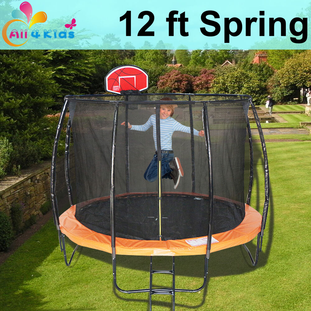 12 FT Round Spring Trampoline With Ladder Safety Net