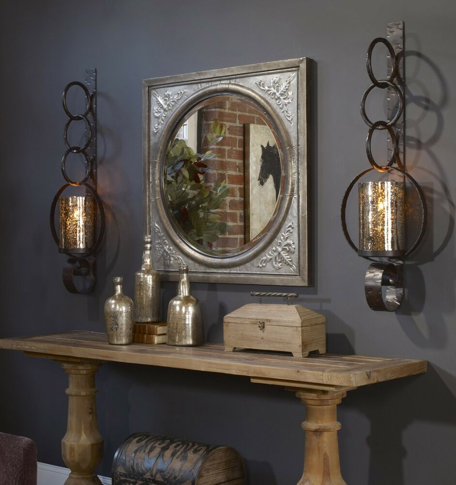 """TWO LARGE 39"""" RUST BROWN METAL MERCURY GLASS WALL SCONCE"""