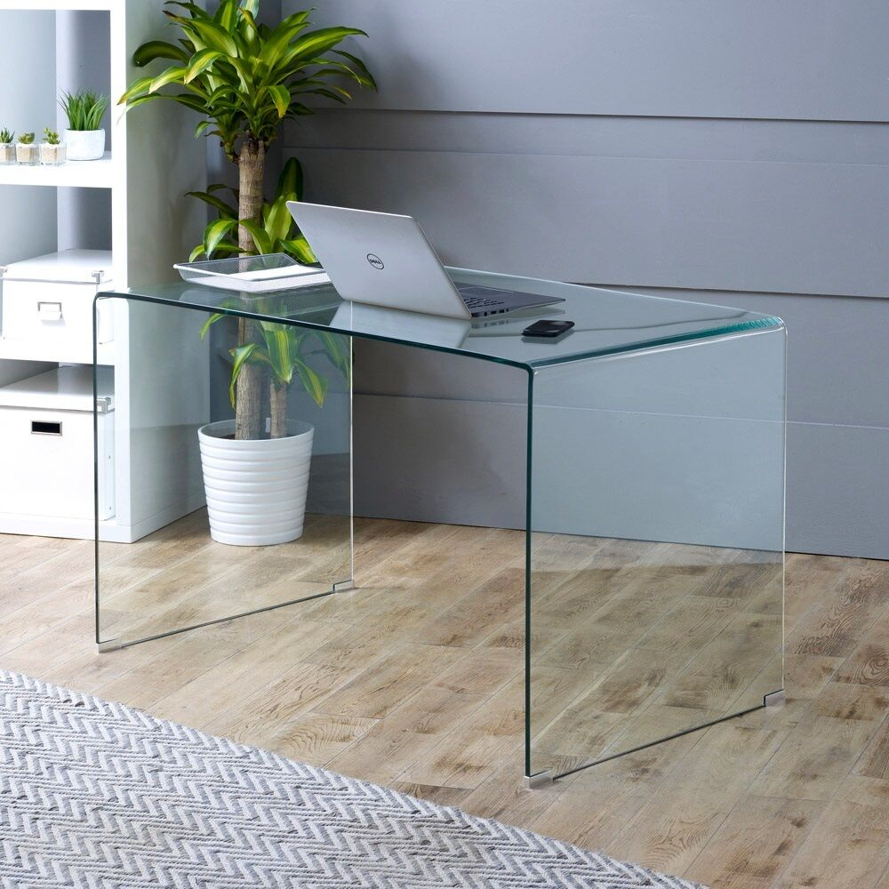 geo glass computer office study desk large clear toughened tempered
