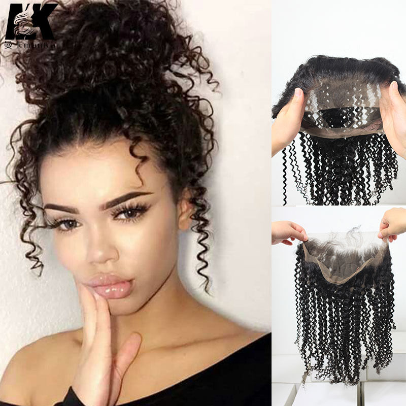 360 Lace Band Curly Peruvian Human Hair Frontals Back Lace