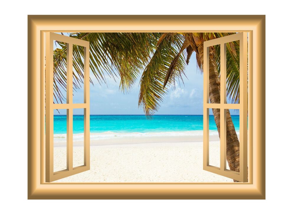 3d window wall decal beach scene ocean sticker peel and for Beach wall mural sticker