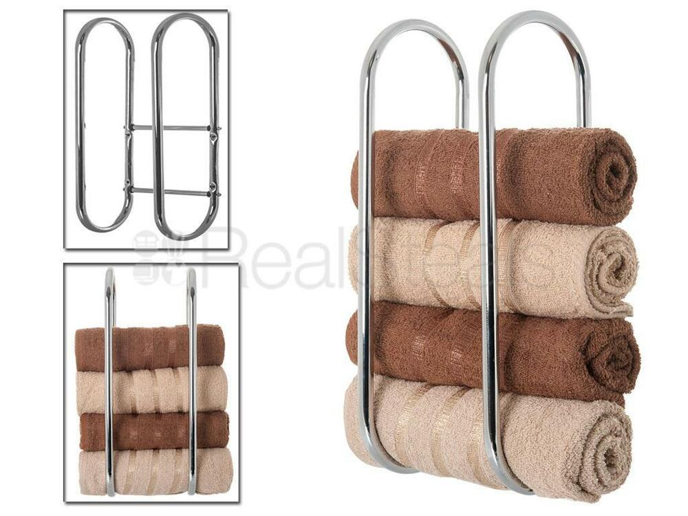 New S Steel Wall Mounted Chrome Towel Holder Shelf