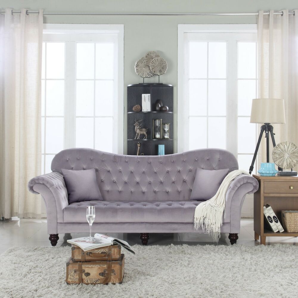dark grey classic tufted velvet upholstered victorian living room sofa ebay. Black Bedroom Furniture Sets. Home Design Ideas