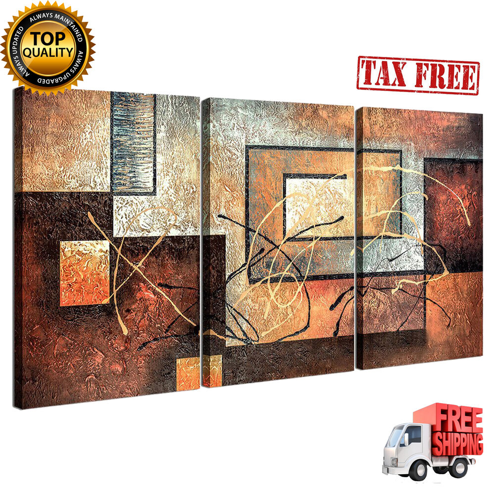 3 Panels Wall Art Framed Canvas Home Decor Abstract