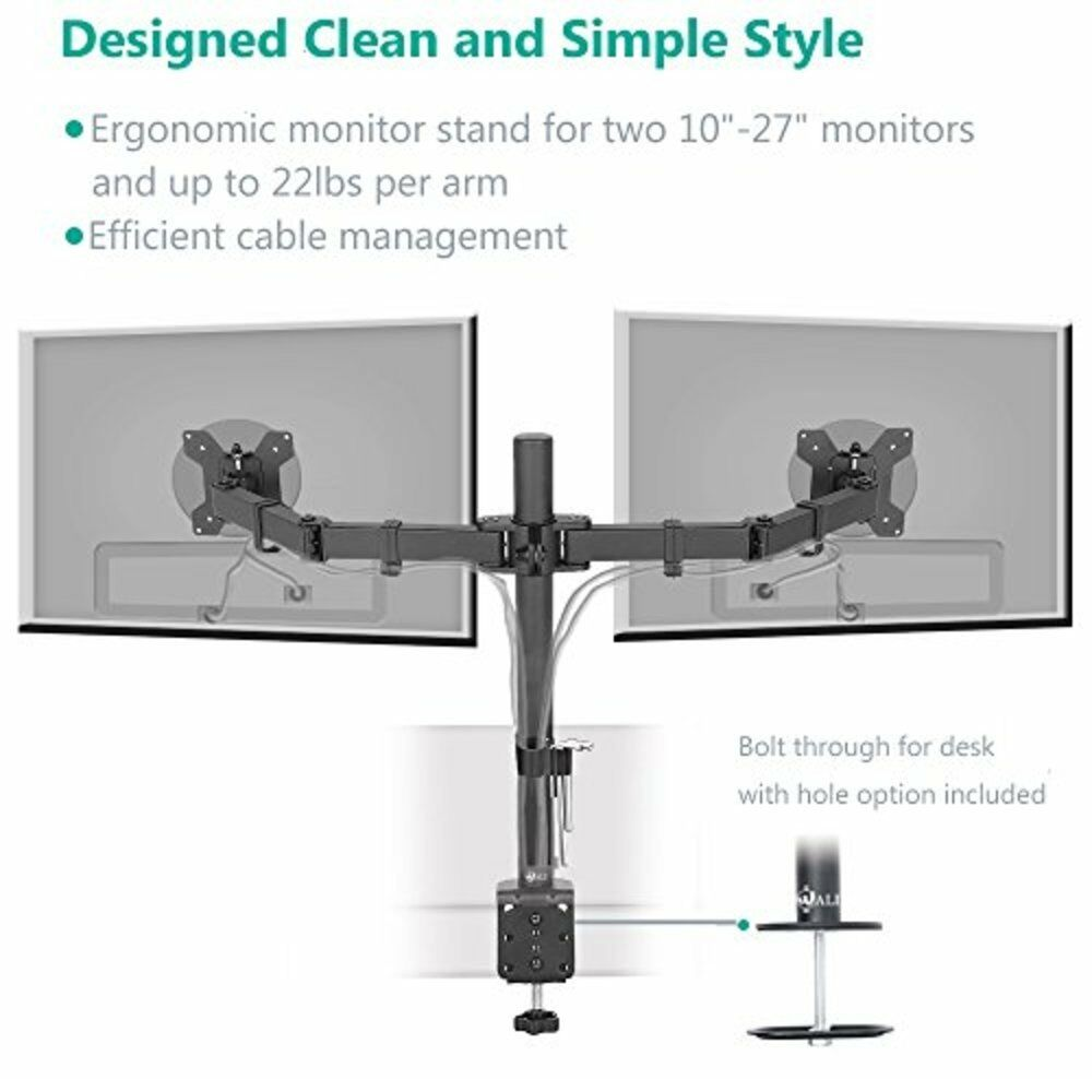 Dual Lcd Monitor Desk Mount Stand Swivel Rotate Arm
