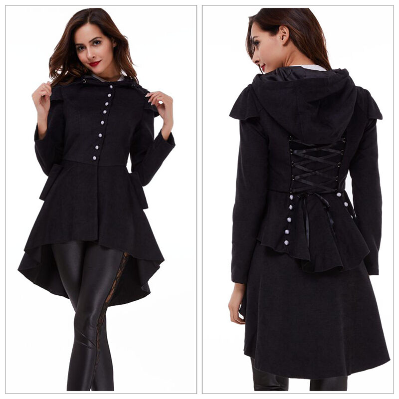 damen mode trench coat revers kapuze windmantel wintermantel jacke schwarz lang ebay. Black Bedroom Furniture Sets. Home Design Ideas