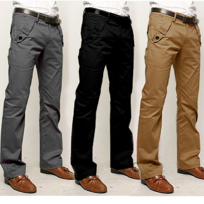 New Mens Slim Fit Straight-Leg Trousers Casual Work Party ...