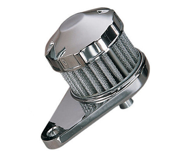 Custom Air Breather : Chrome crankcase breather filter assembly for harley or