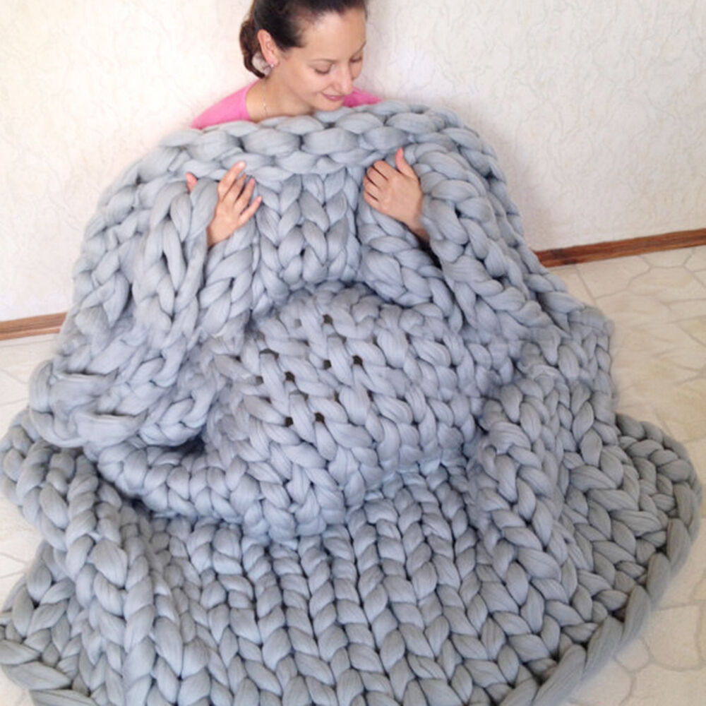 Knitting Wool Blanket : Warm chunky knit blanket thick yarn hand woven